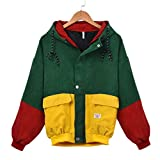 Mnyycxen Women Stitching Hoodie Coat, Three-Color Patchwork Long Sleeve Corduroy Zip Button up Pockets Jacket Outwear Coat with Hood (L, Wine Red)