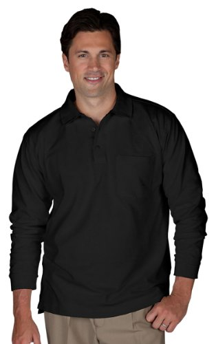 Edwards Garment Big And Tall Soft Touch Blended Pique Polo Shirt_BLACK_X-Large
