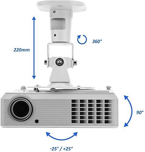 deleyCON Universal Beamer Soporte para Proyectores Inclinación de +-25° Rotación de 360° Soporta hasta 15Kg Alcande de…