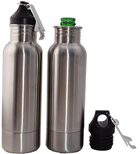 Set of 2 Insulated Beer Bottle Holders - Stainless Steel Bottle Holder Beer Chillers with Bottle Openers