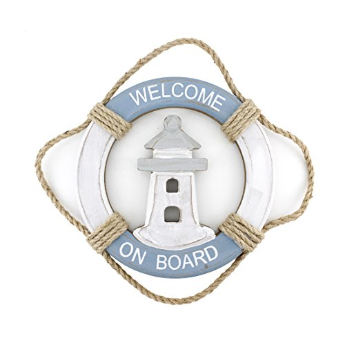 [Wooden Nautical Life Ring Wall and Door Hanging Ornament Plaque,Welcome On Board,11.6