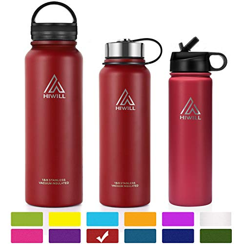 (Hiwill Stainless Steel Insulated Water Bottle 2 Lids, Cold 24 Hours Hot 12 Hours, Double Wall Vacuum Thermos Flask, Travel Sports Leak Proof Metal Bottle with Straw, BPA Free (Cherry, 21 oz))