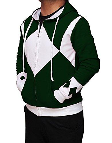 Miracle(Tm) Power Rangers Hoodie - Power Rangers Hooded Costume Zip Up Hoodie - (Large, Green) (Cosplay Power Rangers)
