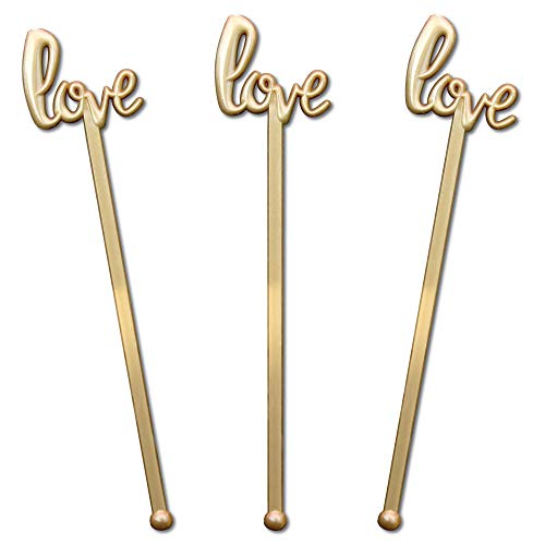 Royer 6 Inch Plastic Love Script Wedding Swizzle Sticks, Set of 48, Gold - Made In USA for $<!--$7.95-->
