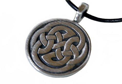 bkwear stm 40 Collier Noeud Celtique Chaîne en Cuir Noir 55 cm Pendentif en Étain 2,5 cm Symbole Celte