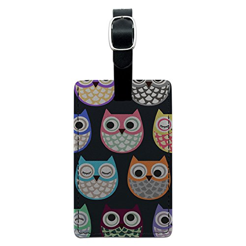 Graphics & More Cute Owl Pattern Leather Luggage Id Tag Suitcase Carry-on, Black ()