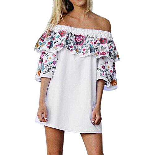 Yang-Yi Clearance, Hot 2018 Fashion Women Floral Dress Ladies Summer Beach Party Off Shoulder Mini Dress (Blue, (Petite Stretch Seersucker)