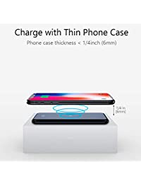 Attom Tech   Cargador inalámbrico de cristal templado para Samsung Galaxy S8, S7, S6, Edge, iPhone XS, XR,X, 8, 8 Plus, Nexus, HTC, Nokia, LG (10000 mAh)