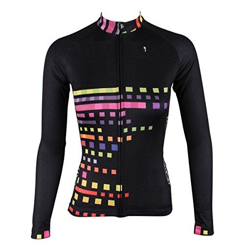 ILPALADINO Women's Cycling Jersey Long Sleeve Biking Shirts Squares Black (M)
