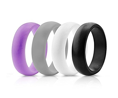 Womens Silicone Wedding Ring Band - 4 Rings Pack - 5.5mm Wide (2mm Thick) - Purple, Grey, Black, White