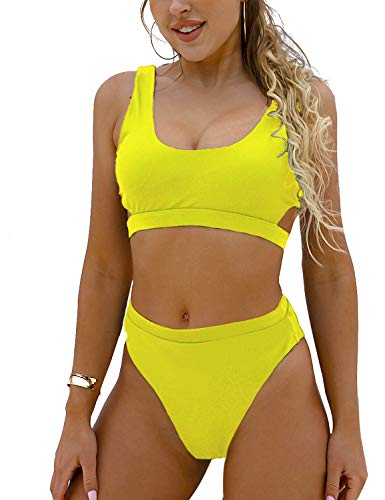 (Blooming Jelly Women's High Waisted Swimsuit Crop Top Cut Out Two Piece Cheeky High Rise Bathing Suit Bikini (Small, Yellow))