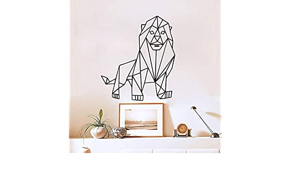 WWYJN Animals Decal Mighty Lion Outline Geometric Wall ...