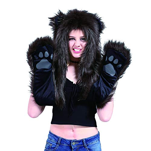 Brown Bear Animal Hat Spirit Hood Full Hat Scarf Pockets s 3 in 1 Ear Flat Cap Hoodie Furry Gloves Paws Mittens Party Costume Gift for Women Men Adult Teen Daughter Girlfriend -