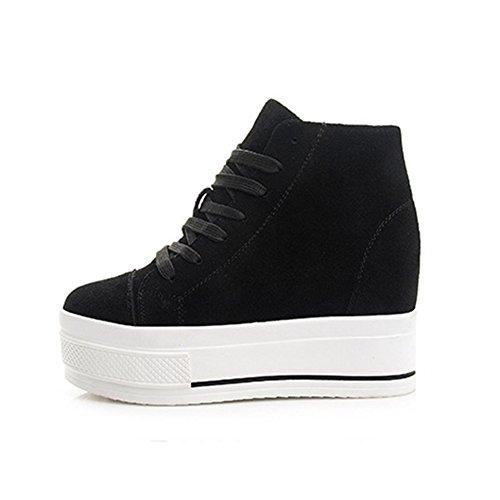 Wig Mode Sneaker Hoge Top Canvas Lace Up Plateauzolen Zwart Voor Dames