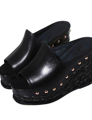 ShangYi Damens's Schuhes Wedge Heel Wedges / Peep Toe Toe Peep / Platform / Slingback Sandales Outdoor / Dress /(Genuine Leder) schwarz a55d5f