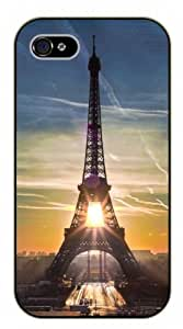 iPhone 4 / 4s Sunrise, Eiffel Tower - black plastic case / Paris, France
