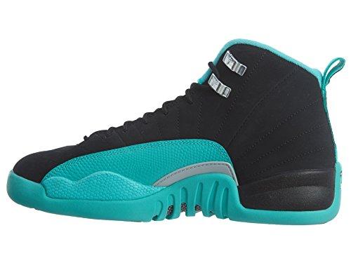Nike Girls Air Jordan 12 Retro Gg Nero / Argento Metallizzato-iper Jade Tessuto Nero, Mtlc Argento-iper Giada
