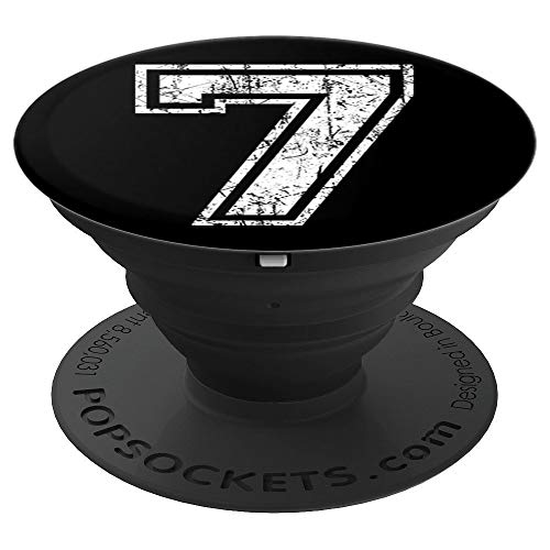Sports Jersey Grunge Number 7 Fan Team Player Birthday Gift PopSockets Grip and Stand for Phones and Tablets
