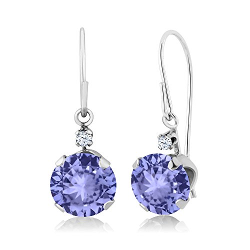 Gem Stone King 1.83 Ct Round Blue Tanzanite 14K White Gold Earrings - Gold Tanzanite Earrings