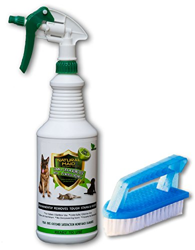 Natural Maid Professional Strength Pet Stain & Odor Remover & Eliminator with 4 Powerful Enzymes - Lime Scent 32 Ounce Quart Ready To Use Multi Surface Cleaner