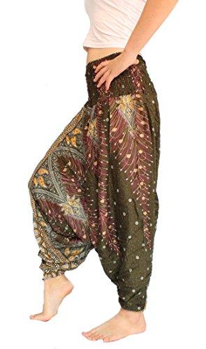 Banjamath Women's Peacock Print Aladdin Harem Hippie Pants Jumpsuit (M, Peacock Dark Green) ()