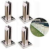 4 Pack Heavy Duty Pool Fence Square Post,Glass Clamps Stainless Steel Glass Pool Fence Balustrade Railing Post for Balcony Garden Deck Ground Handrail Railing Support