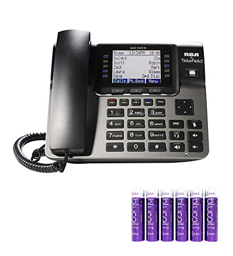 RCA U1000 Unison 4-Line Expandable Phone System - Full-Duplex Speakerphone with Built-in Digital Answering Machine and Intercom Bundle with 6 Blucoil AAA Batteries ()