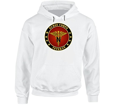 LARGE - Army - Nurse Corps Veteran Hoodie - White - Patch Military Dui