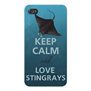 Apple Iphone Custom Case 4 4s White Plastic Snap on - Keep Calm and Love Stingrays Swimming In Ocean