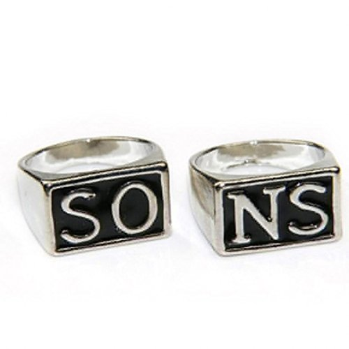 Punk Couple Ring Stainless Steel Son's Anarchy Jewelry Gift 2 Pieces/Set