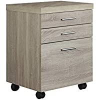 3 DRAWER NATURAL ON CASTORS FILING CABINET