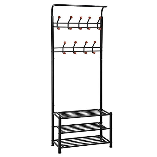 Finefurniture Entryway Coat and Shoe Rack with 18 Hooks and 3-Tier Shelves, Fashion Garment Rack, Bag Clothes Umbrella and Hat Rack with Hanger ()