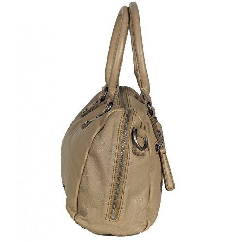 FREDsBRUDER Iconic Bowling Tasche Handtasche aus weichem Leder muddy toffee (28 x 20 x 11 cm)