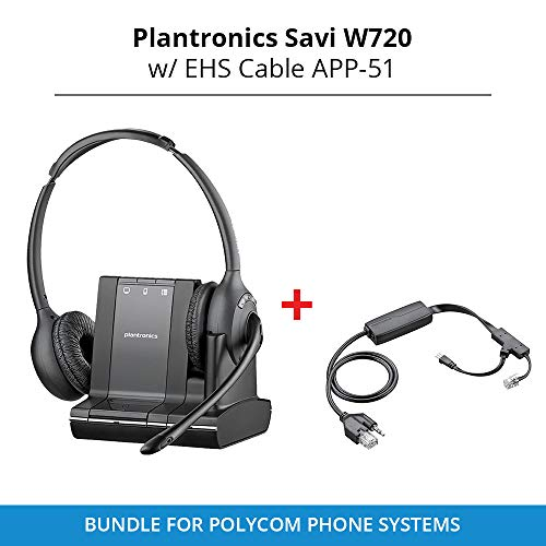 Plantronics Savi W720 Duo Wireless Headset with EHS Cable APP-51, Bundle for Polycom Phone Systems