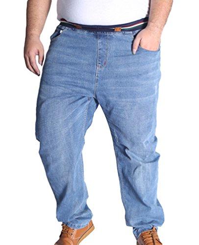 Uomo Straight Elasticità Taglia Pantaloni Tempo Grossa Vita Chiaro Blu Heheja Libero Alta Denim pSBnBq6