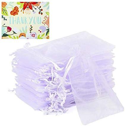 Comius Bolsitas de Tela para Regalos, 100 Piezas Blanco Bolsas de Organza de Regalo para Boda Favores y Joyas (10 * 15cm)