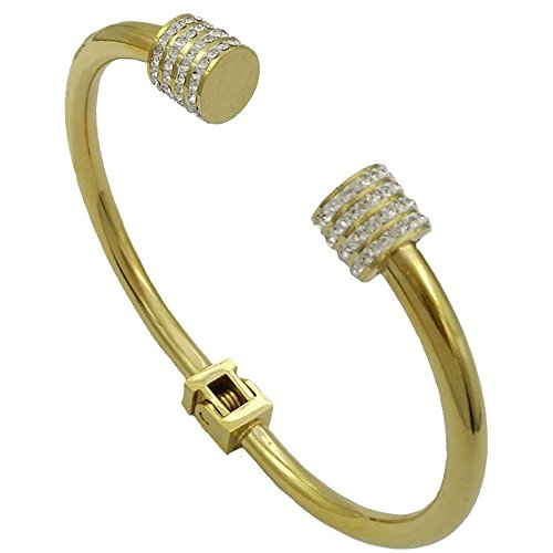 Baoli Stainless Steel 18k Gold Pave Diamond Torque Spring Bangle Bracelet (yellow (Pave Cuff)