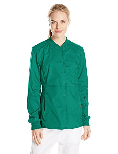 (Dickies Women's EDS Signature Stretch Snap Front Warm-Up Jacket, Hunter, XXX-Large)