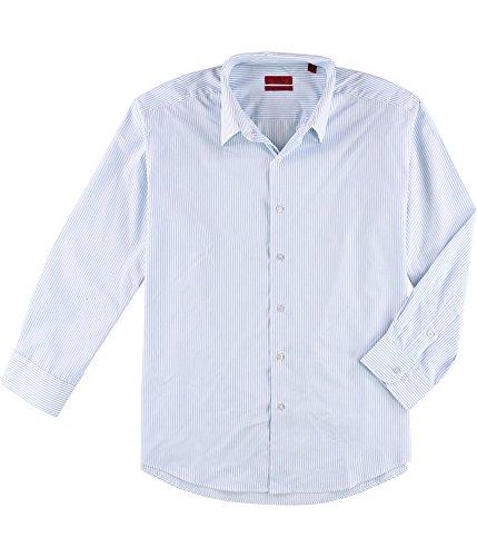 Alfani Mens Striped Button Up Dress Shirt, Blue, 17.5