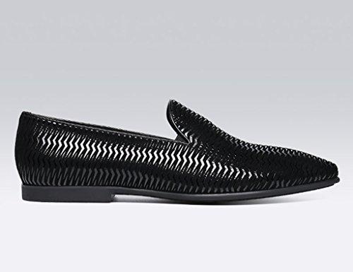 HWF Scarpe Uomo in Pelle Scarpe da uomo in pelle casual stile britannico a punta moda giovane marea single Wild Shoes (Colore : Nero, dimensioni : EU 41/UK7) Nero