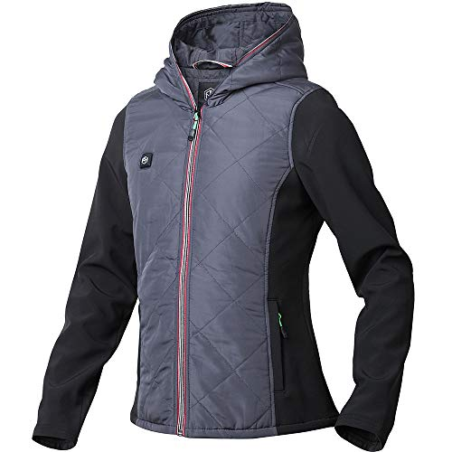 Quilted Hooded Zip Sweatshirt - Pau1Hami1ton Women's Workwear Lightweight Outdoor Full-Zip Hoodies Jacket Use Your Own 5v/2a(Power Bank) PJ-03 (L, Grey)