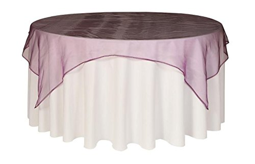Your Chair Covers - 72 inch Square Organza Table Overlay Eggplant, Lightweight Sheer Organza Table Cloths