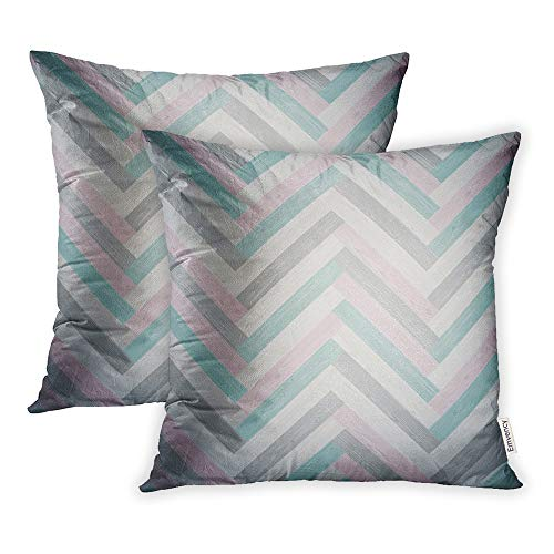 Emvency Pack of 2 Throw Pillow Covers Print Polyester Zippered Abstract Mixed Herringbone Parquet Floor Pattern in Swatches Board Pillowcase 18x18 Square Decor for Home Bed Couch Sofa