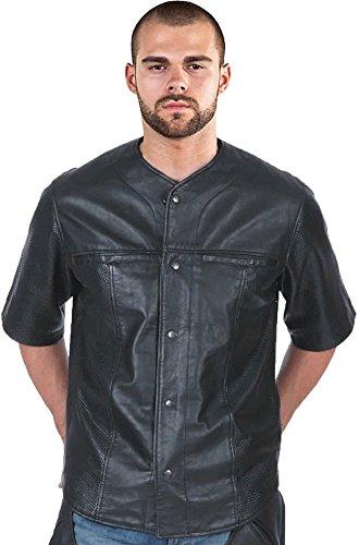unik Perforated Leather Short Sleeve Baseball Shirt