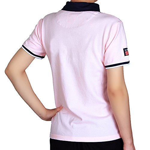 IKRR Women's/Mens shirts Polo Camisas Negocios Manga Corta para Hombre/Mujer Mujer Rosa