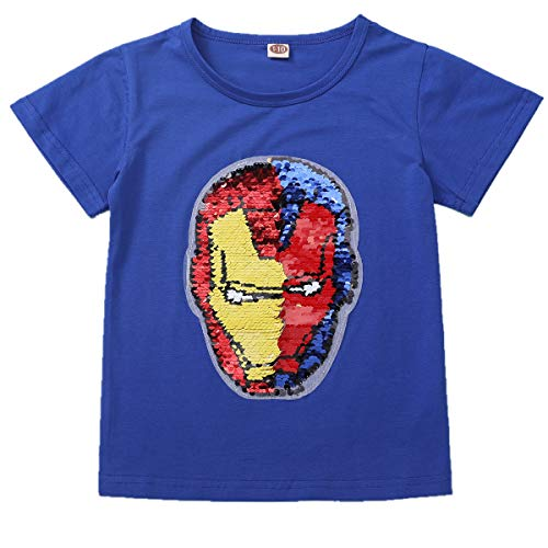 Flip Sequins for Boys Kids Girls Magic Sequin Cotton T-Shirt Tops 3-8 Years (Size 3-8) (6-7 Years, Z6 Iron Man)]()