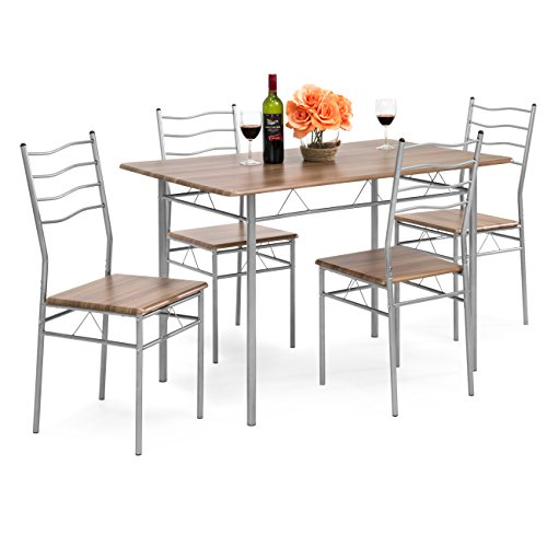 Best Choice Products 5-Piece 4-Foot Modern Wooden Kitchen Table Dining Set with Metal Legs, 4 Chairs, Brown/Silver