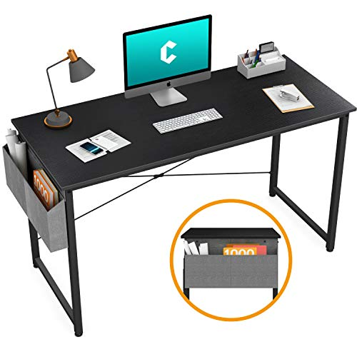 "Cubiker Computer Desk 47"" Home Office Writing Study Desk, Modern Simple Style Laptop Table with Storage Bag, Black"