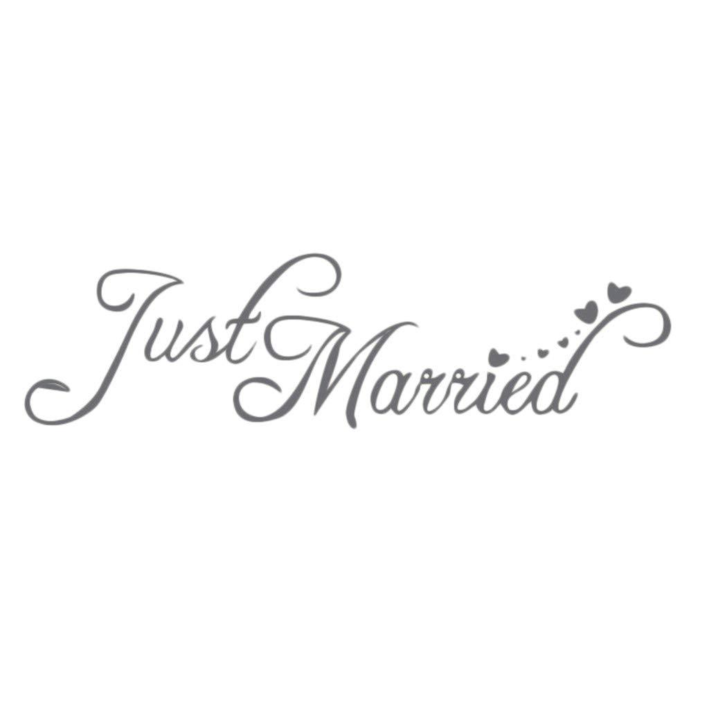 """Bearbelly Stickers Muraux Nouvellement marié """"Just Married"""" Silhouette Sticker Décoration De Mariage Chambre Décoration"""