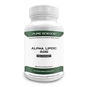 Pure Science Ácido alfa lipoico 600mg - Suplemento de alta